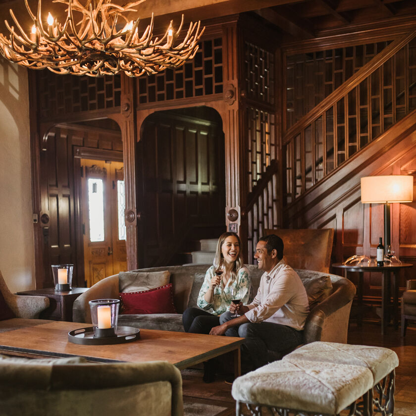 Guests Sipping Wine Inside Napa Valley Manor House