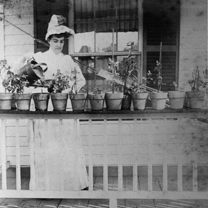 Stags' Leap Historic Photo of Minnie Watering Her Plants