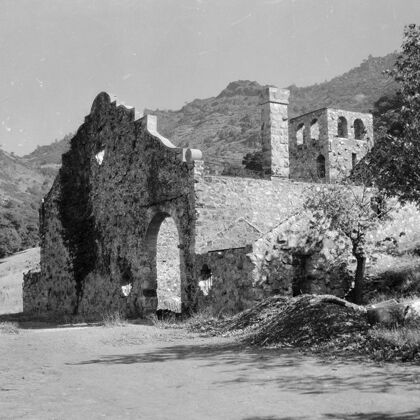 Historical Photograph of Old Stone Wine Cellar and Winery