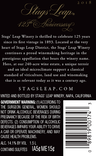 2018 Stags' Leap 125th Anniversary Petite Sirah Magnum Back Label, image 3