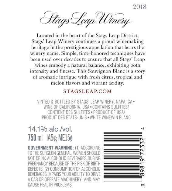 2018 Stags' Leap Napa Valley Sauvignon Blanc Back Label