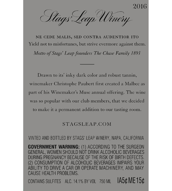 2016 Stags' Leap Napa Valley Malbec Back Label