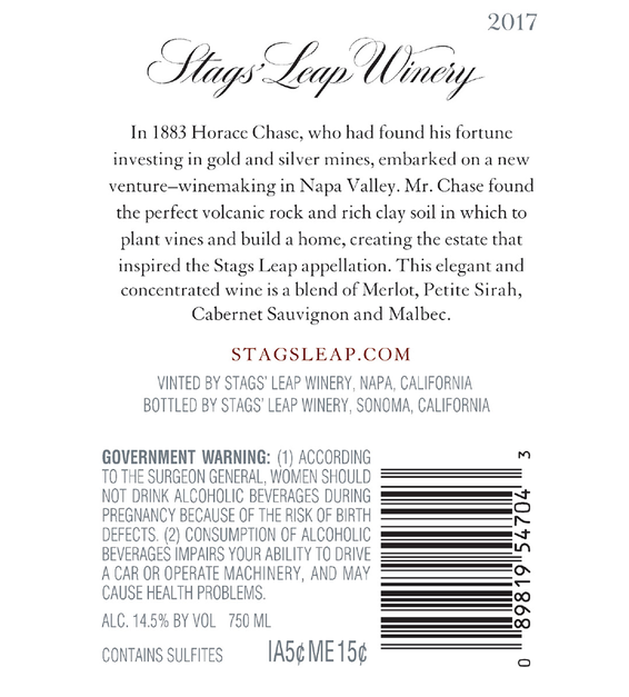2017 Stags' Leap The Investor Napa Valley Red Blend Back Label