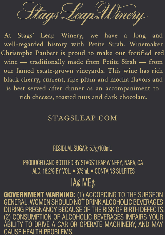 Stags' Leap Winery Fortified Petite Sirah 375 ml Back Label