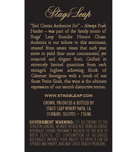 2012 Stags' Leap Audentia Estate Grown Napa Valley Cabernet Sauvignon Back Label