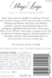 2018 Stags' Leap 125th Anniversary Napa Valley Cabernet Back Label, image 4